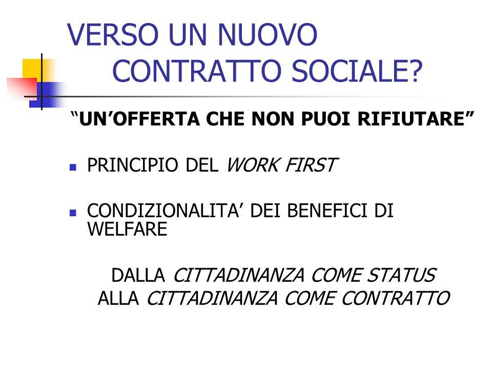 VERSO UN NUOVO CONTRATTO SOCIALE? UNOFFERTA CHE NON PUOI RIFIUTARE PRINCIPIO DEL WORK FIRST CONDIZIONALITA DEI BENEFICI DI WELFARE DALLA CITTADINANZA
