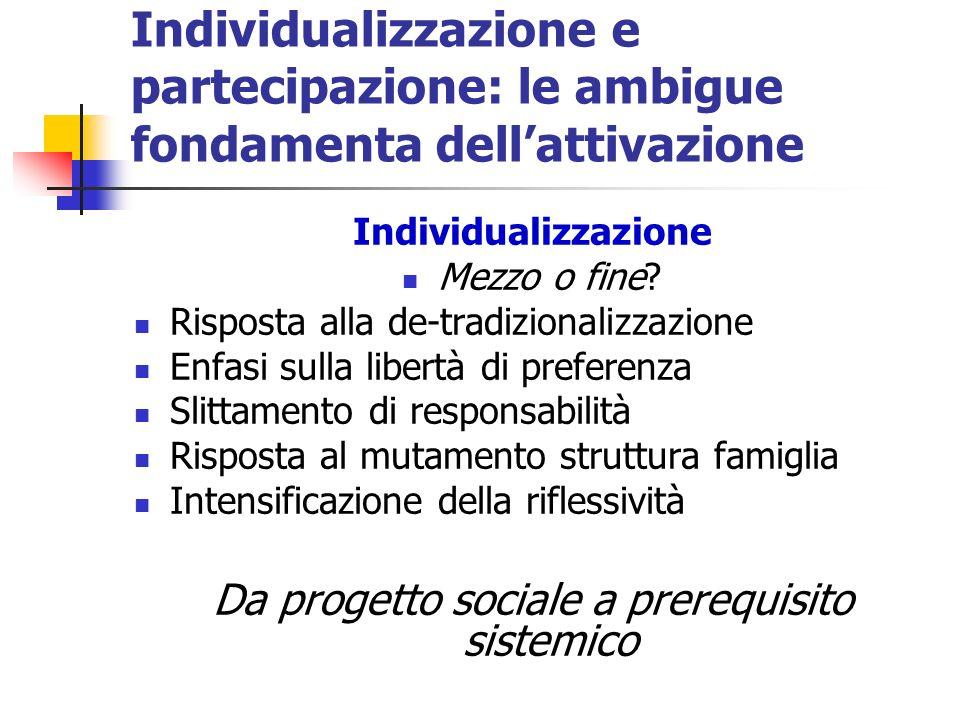 Individualizzazione e partecipazione: le ambigue fondamenta dellattivazione Individualizzazione Mezzo o fine? Risposta alla de-tradizionalizzazione En