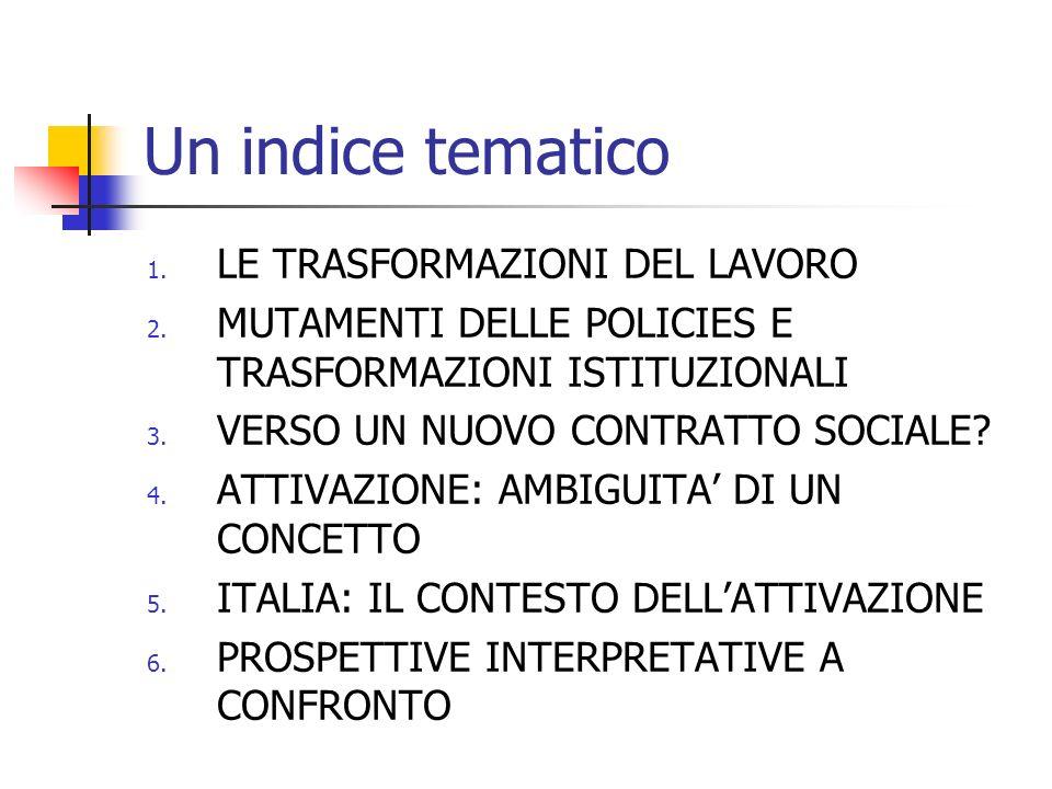 Un indice tematico 1. LE TRASFORMAZIONI DEL LAVORO 2. MUTAMENTI DELLE POLICIES E TRASFORMAZIONI ISTITUZIONALI 3. VERSO UN NUOVO CONTRATTO SOCIALE? 4.