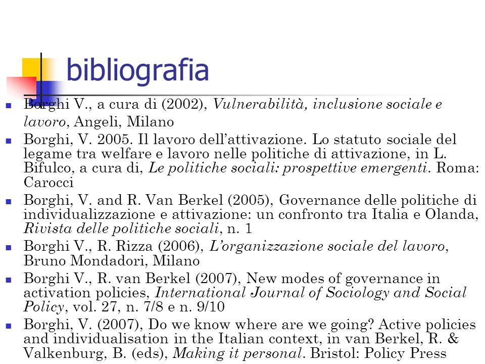 bibliografia Borghi V., a cura di (2002), Vulnerabilità, inclusione sociale e lavoro, Angeli, Milano Borghi, V. 2005. Il lavoro dellattivazione. Lo st