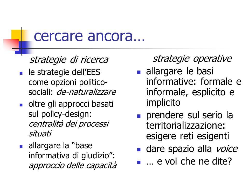cercare ancora… strategie di ricerca le strategie dellEES come opzioni politico- sociali: de-naturalizzare oltre gli approcci basati sul policy-design