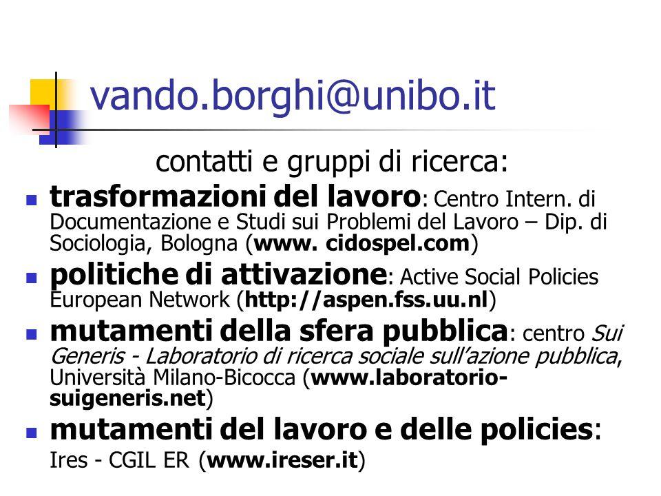 vando.borghi@unibo.it contatti e gruppi di ricerca: trasformazioni del lavoro : Centro Intern. di Documentazione e Studi sui Problemi del Lavoro – Dip