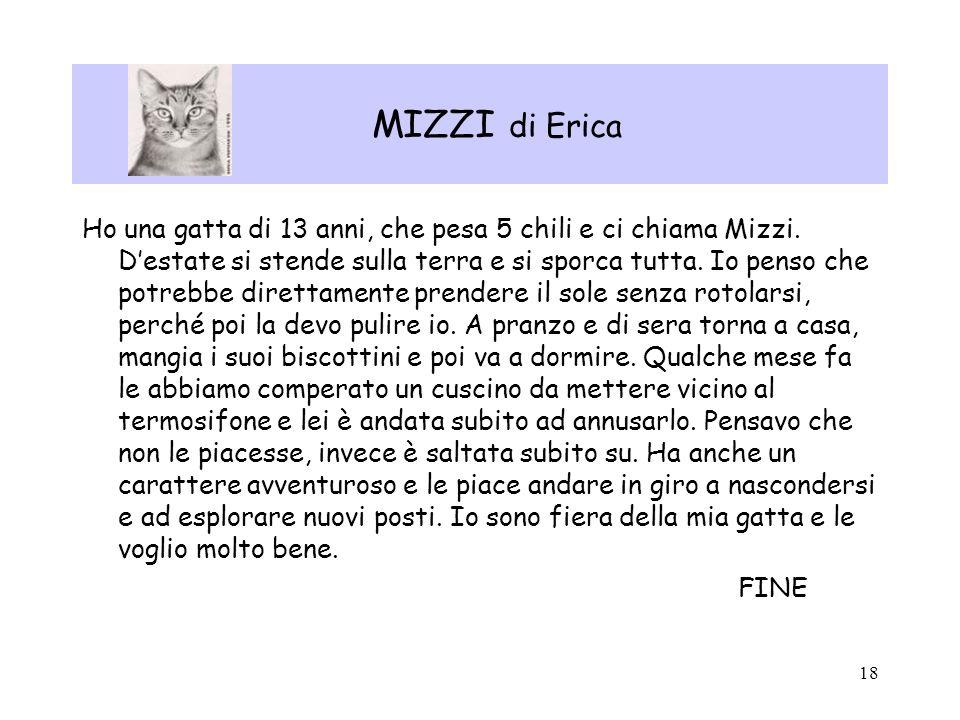 18 MIZZI di Erica Ho una gatta di 13 anni, che pesa 5 chili e ci chiama Mizzi. Destate si stende sulla terra e si sporca tutta. Io penso che potrebbe