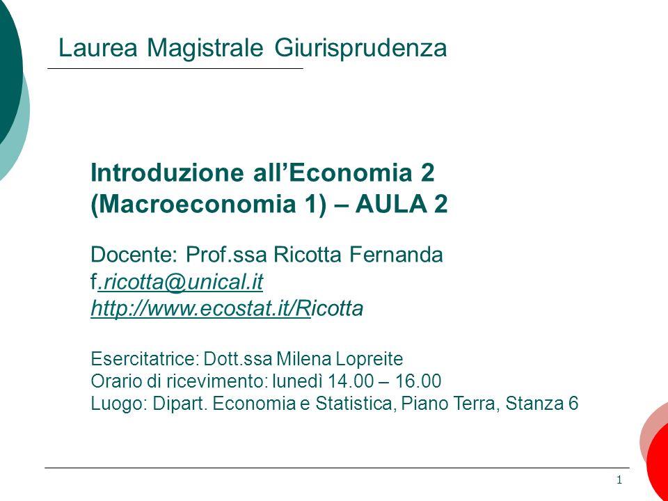 1 Introduzione allEconomia 2 (Macroeconomia 1) – AULA 2 Docente: Prof.ssa Ricotta Fernanda f.ricotta@unical.it http://www.ecostat.it/Ricotta Esercitat