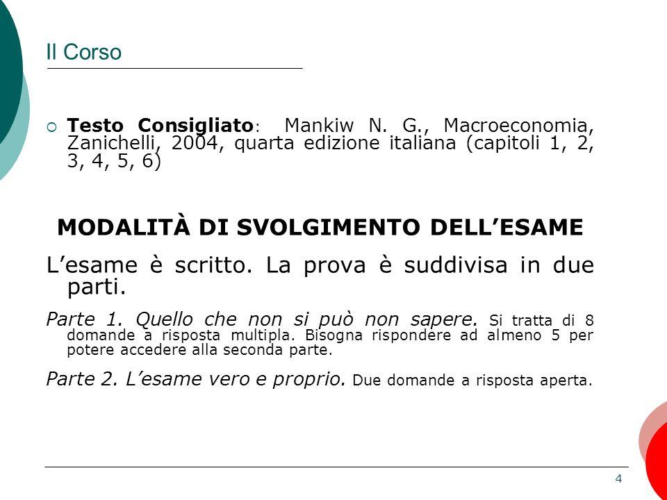 4 Il Corso Testo Consigliato : Mankiw N. G., Macroeconomia, Zanichelli, 2004, quarta edizione italiana (capitoli 1, 2, 3, 4, 5, 6) MODALITÀ DI SVOLGIM