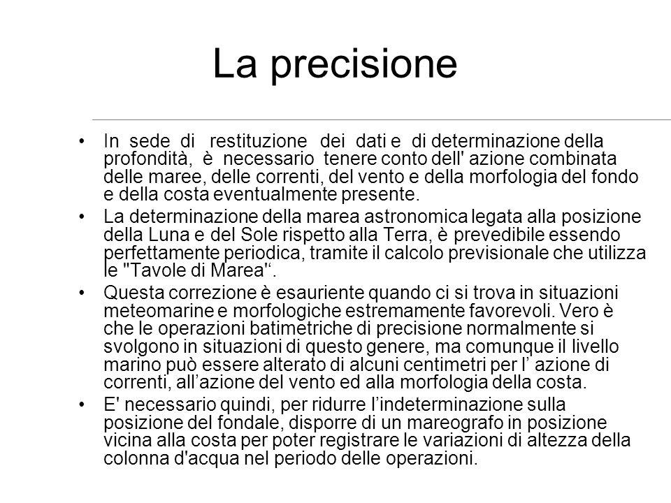La precisione In sede di restituzione dei dati e di determinazione della profondità, è necessario tenere conto dell' azione combinata delle maree, del