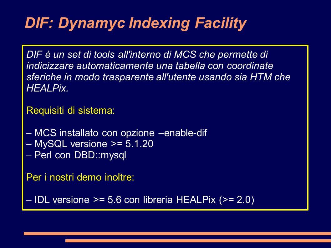 DIF: Dynamyc Indexing Facility DIF è un set di tools all interno di MCS che permette di indicizzare automaticamente una tabella con coordinate sferiche in modo trasparente all utente usando sia HTM che HEALPix.