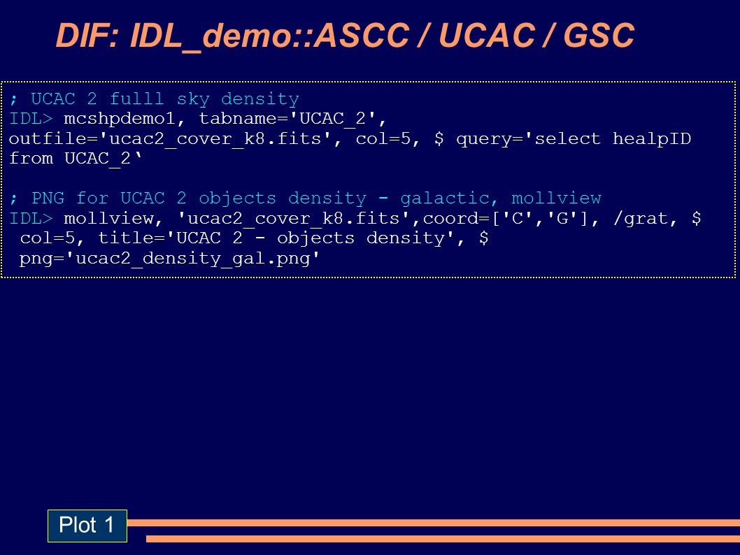 DIF: IDL_demo::ASCC / UCAC / GSC ; UCAC 2 fulll sky density IDL> mcshpdemo1, tabname= UCAC_2 , outfile= ucac2_cover_k8.fits , col=5, $ query= select healpID from UCAC_2 ; PNG for UCAC 2 objects density - galactic, mollview IDL> mollview, ucac2_cover_k8.fits ,coord=[ C , G ], /grat, $ col=5, title= UCAC 2 - objects density , $ png= ucac2_density_gal.png Plot 1