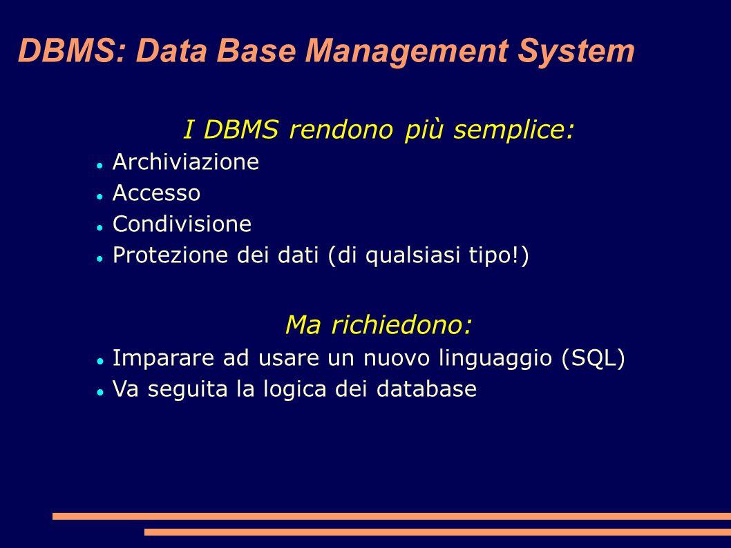 DBMS: Data Base Management System I DBMS rendono più semplice: Archiviazione Accesso Condivisione Protezione dei dati (di qualsiasi tipo!) Ma richiedono: Imparare ad usare un nuovo linguaggio (SQL) Va seguita la logica dei database