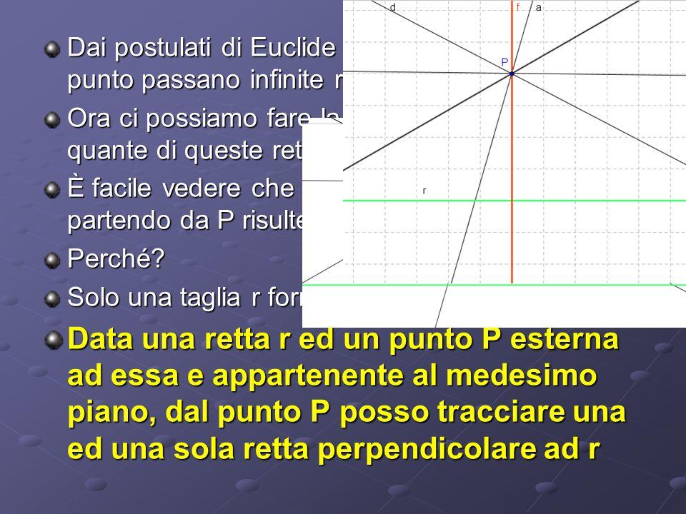 Dai postulati di Euclide sappiamo che per un punto passano infinite rette Ora ci possiamo fare la seguente domanda: quante di queste rette somo perpen