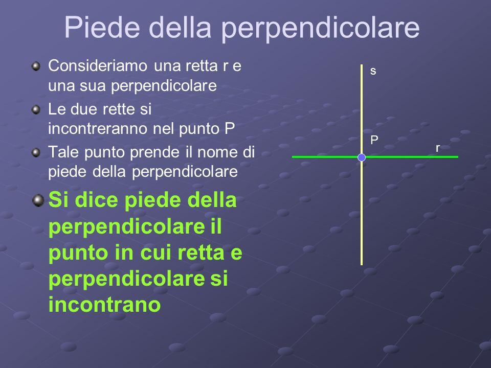 Piede della perpendicolare Consideriamo una retta r e una sua perpendicolare Le due rette si incontreranno nel punto P Tale punto prende il nome di pi