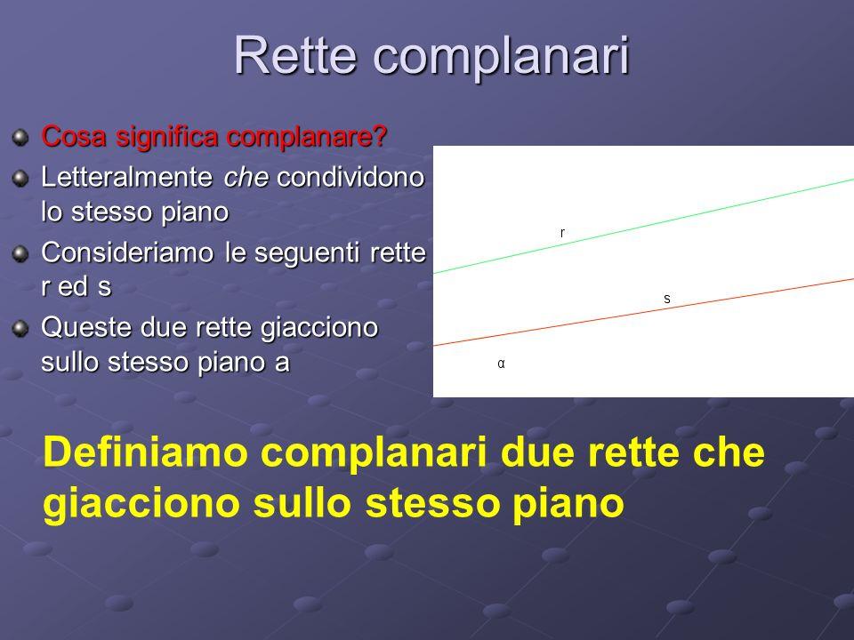 Rette complanari Cosa significa complanare? Letteralmente che condividono lo stesso piano Consideriamo le seguenti rette r ed s Queste due rette giacc