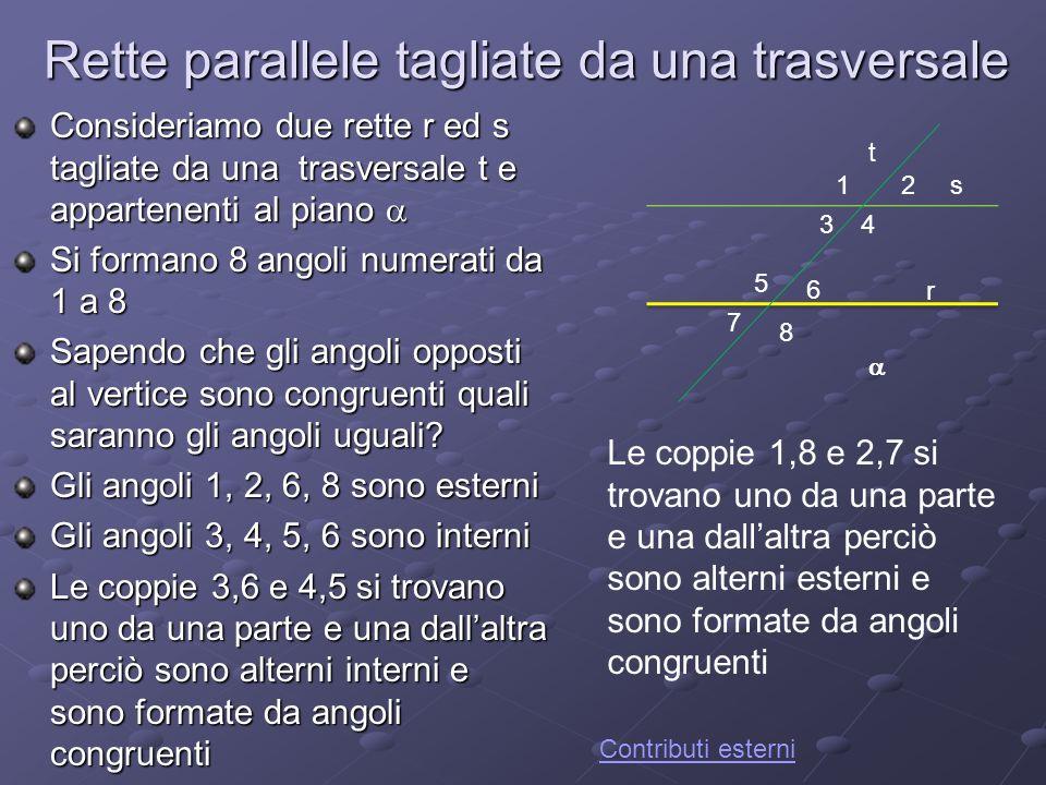 Rette parallele tagliate da una trasversale Consideriamo due rette r ed s tagliate da una trasversale t e appartenenti al piano Consideriamo due rette