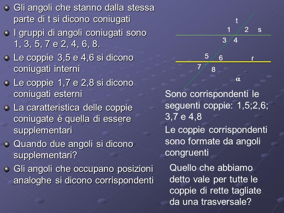 Gli angoli che stanno dalla stessa parte di t si dicono coniugati I gruppi di angoli coniugati sono 1, 3, 5, 7 e 2, 4, 6, 8. Le coppie 3,5 e 4,6 si di