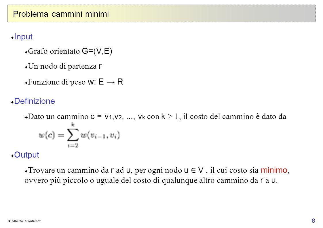 6 © Alberto Montresor Problema cammini minimi Input Grafo orientato G=(V,E) Un nodo di partenza r Funzione di peso w: E R Definizione Dato un cammino