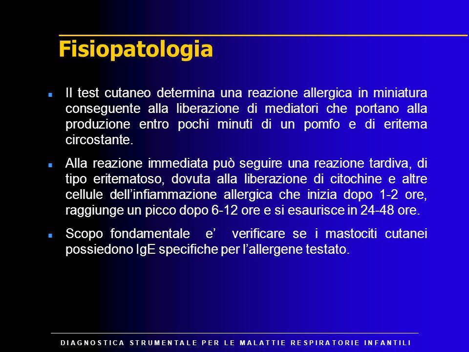 D I A G N O S T I C A S T R U M E N T A L E P E R L E M A L A T T I E R E S P I R A T O R I E I N F A N T I L I Test di provocazione bronchiale n Consiste nella induzione di broncocostrizione tramite inalazione di allergeni specifici in forma di aerosol in dosi crescenti e nella contemporanea determinazione di eventuali modifiche cliniche e/o spirometriche (risposta positiva se il FEV 1 si riduce del 20%).