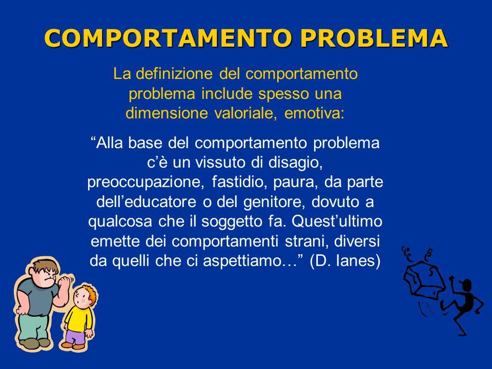 COMPORTAMENTO PROBLEMA La definizione del comportamento problema include spesso una dimensione valoriale, emotiva: Alla base del comportamento problem
