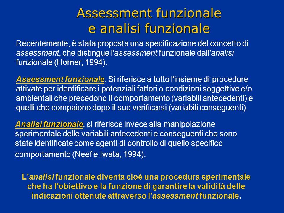 Assessment funzionale e analisi funzionale nalisi funzionale Analisi funzionale, si riferisce invece alla manipolazione sperimentale delle variabili a