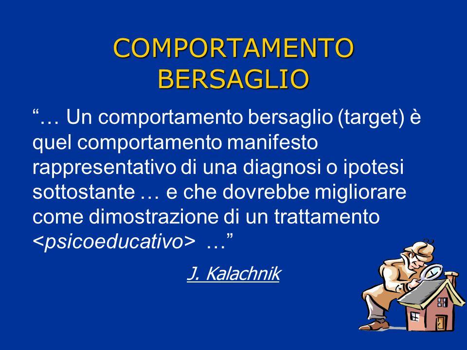 COMPORTAMENTO BERSAGLIO … Un comportamento bersaglio (target) è quel comportamento manifesto rappresentativo di una diagnosi o ipotesi sottostante … e