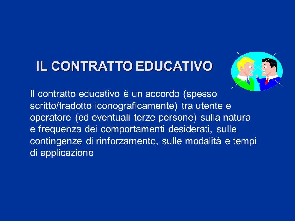 IL CONTRATTO EDUCATIVO Il contratto educativo è un accordo (spesso scritto/tradotto iconograficamente) tra utente e operatore (ed eventuali terze pers