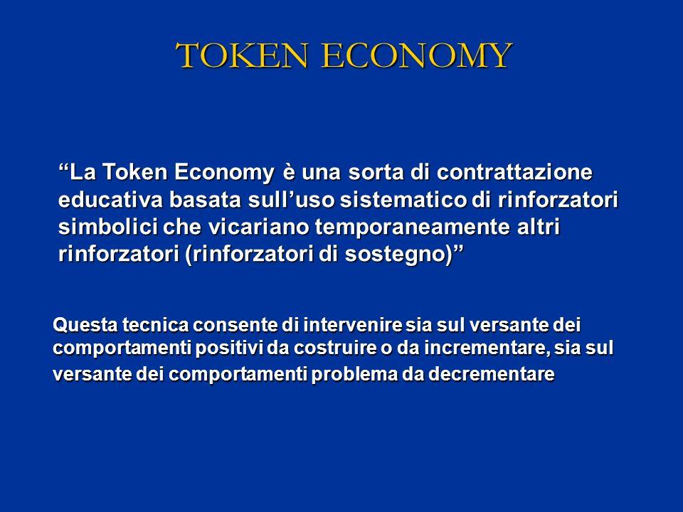 TOKEN ECONOMY La Token Economy è una sorta di contrattazione educativa basata sulluso sistematico di rinforzatori simbolici che vicariano temporaneame