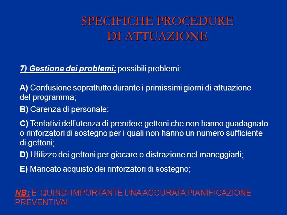 SPECIFICHE PROCEDURE DI ATTUAZIONE 7) Gestione dei problemi; possibili problemi: A) Confusione soprattutto durante i primissimi giorni di attuazione d