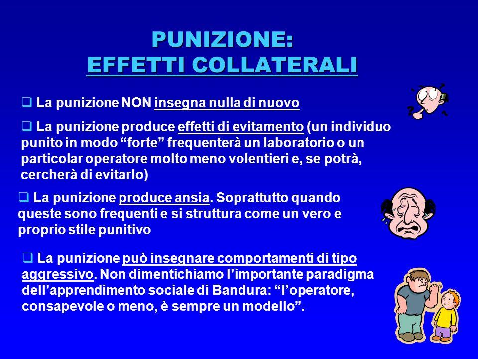PUNIZIONE: EFFETTI COLLATERALI La punizione NON insegna nulla di nuovo La punizione produce effetti di evitamento (un individuo punito in modo forte f