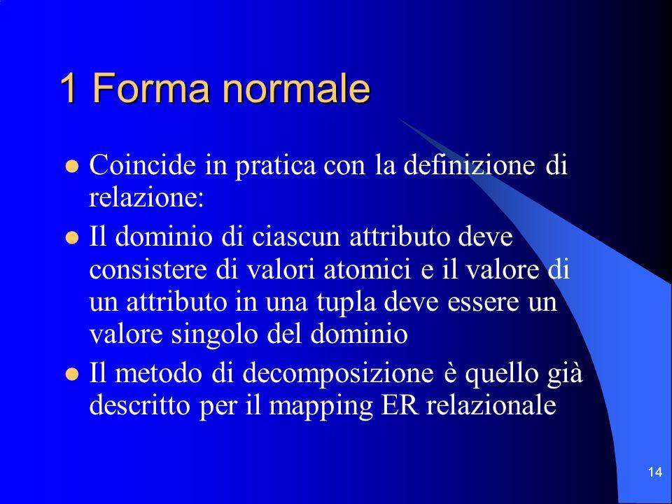 14 1 Forma normale Coincide in pratica con la definizione di relazione: Il dominio di ciascun attributo deve consistere di valori atomici e il valore di un attributo in una tupla deve essere un valore singolo del dominio Il metodo di decomposizione è quello già descritto per il mapping ER relazionale