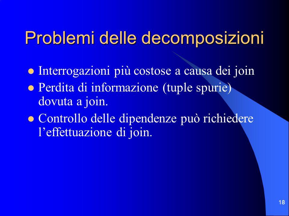 18 Problemi delle decomposizioni Interrogazioni più costose a causa dei join Perdita di informazione (tuple spurie) dovuta a join.