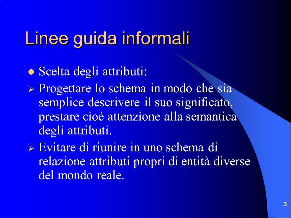 3 Linee guida informali Scelta degli attributi: Progettare lo schema in modo che sia semplice descrivere il suo significato, prestare cioè attenzione alla semantica degli attributi.