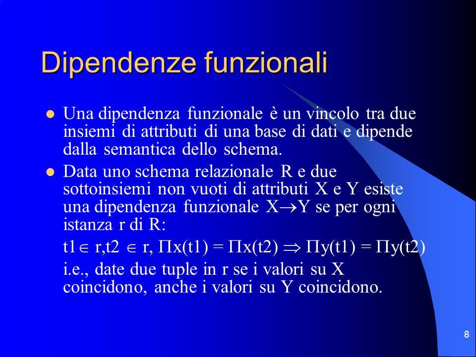 19 Decomposizione senza perdite La decomposizione di uno schema R(X) in due sottoinsiemi di attributi X1 e X2 tali che X1 X2=X e X1 X2=X0 è lossless join se è soddisfatta la FD X0 X1 oppure X0 X2 La decomposizione è lossless se linsieme degli attributi comuni alle due relazioni risultanti è chiave per almeno 1 delle 2 relazioni.