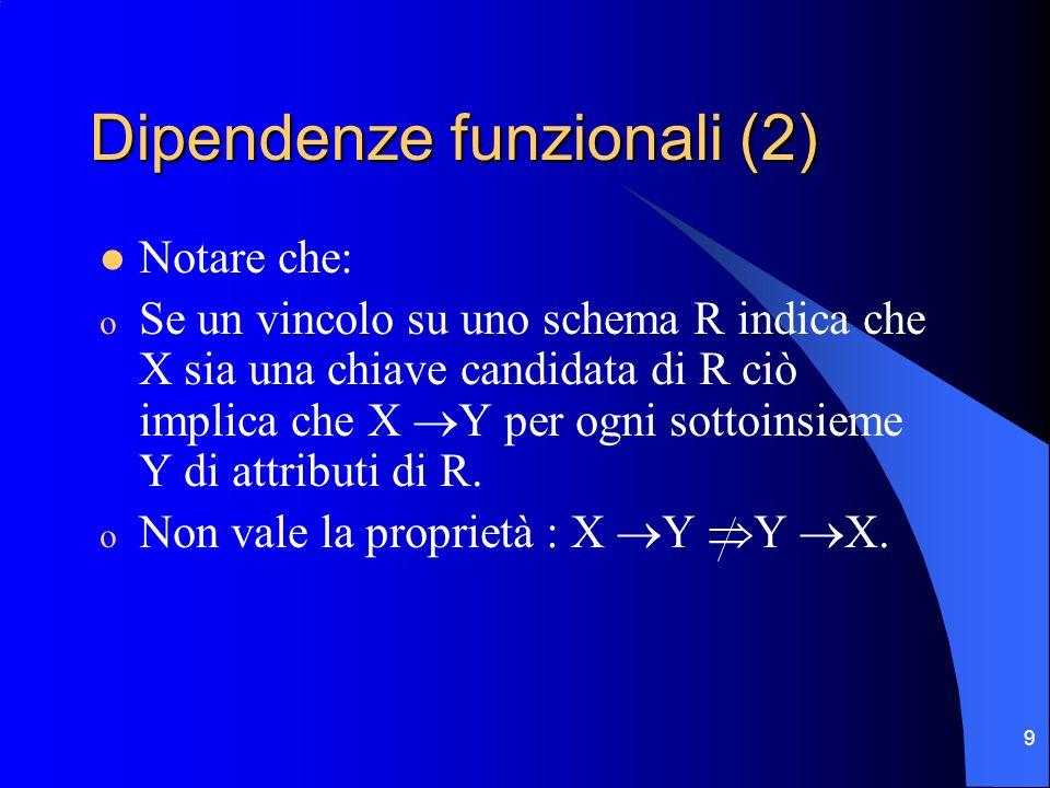 10 Dipendenze funzionali (3) Sia F linsieme delle FD che sono specificate su uno schema R.