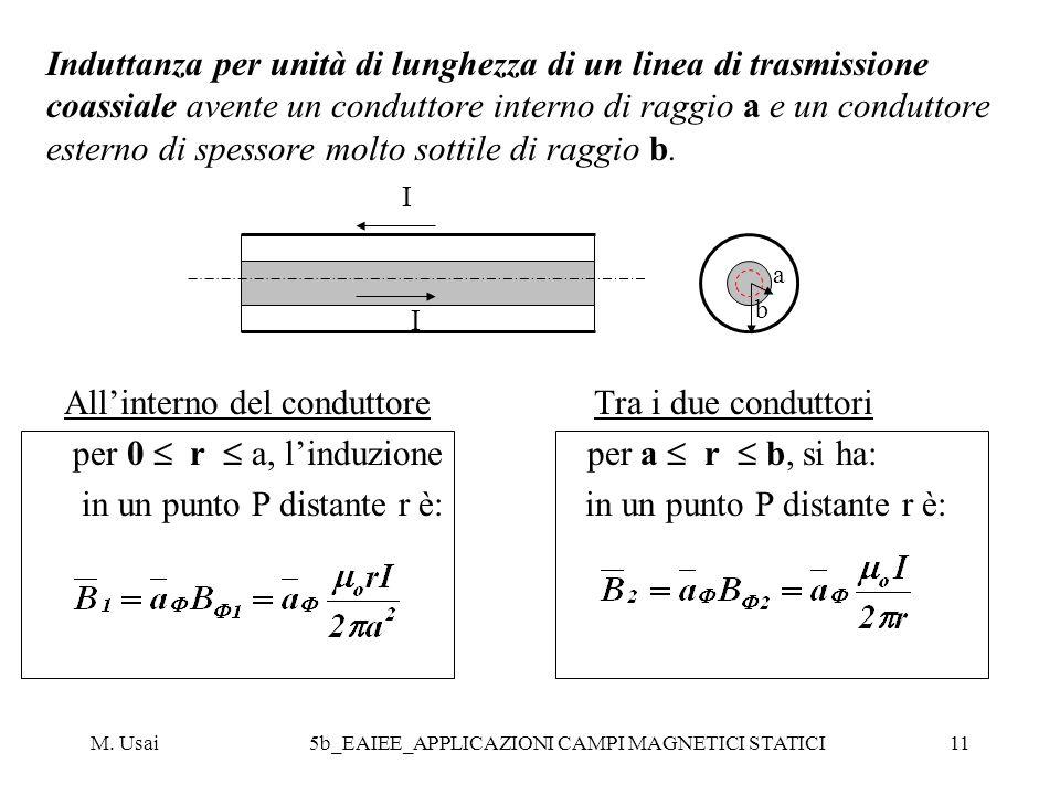 M. Usai5b_EAIEE_APPLICAZIONI CAMPI MAGNETICI STATICI11 Induttanza per unità di lunghezza di un linea di trasmissione coassiale avente un conduttore in