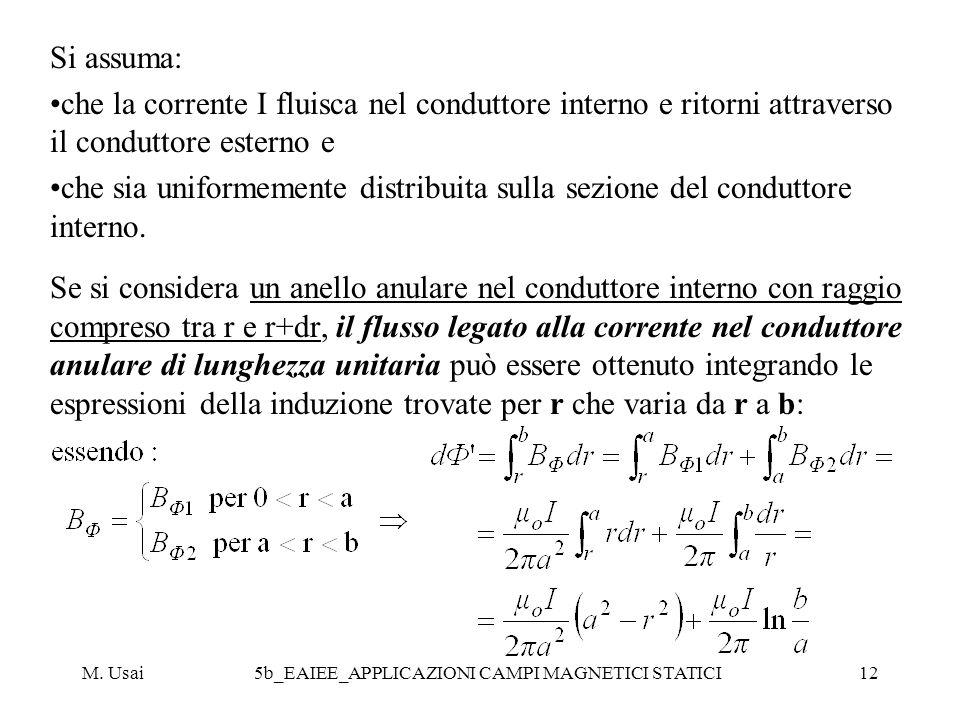 M. Usai5b_EAIEE_APPLICAZIONI CAMPI MAGNETICI STATICI12 Si assuma: che la corrente I fluisca nel conduttore interno e ritorni attraverso il conduttore