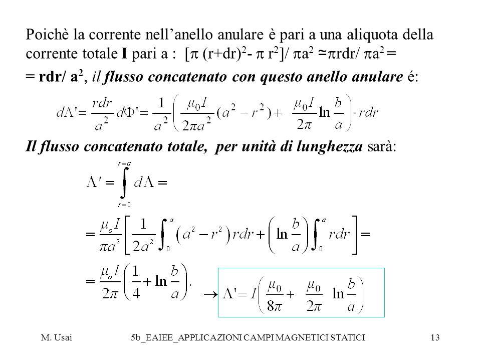 M. Usai5b_EAIEE_APPLICAZIONI CAMPI MAGNETICI STATICI13 Poichè la corrente nellanello anulare è pari a una aliquota della corrente totale I pari a : [