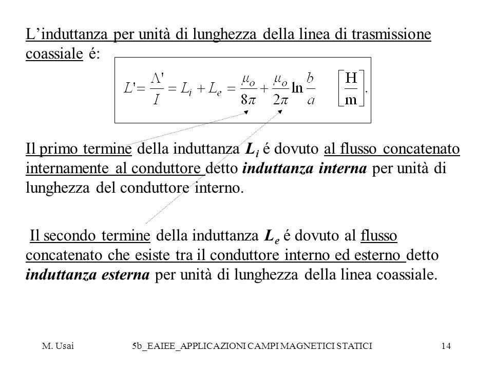 M. Usai5b_EAIEE_APPLICAZIONI CAMPI MAGNETICI STATICI14 Linduttanza per unità di lunghezza della linea di trasmissione coassiale é: Il primo termine de
