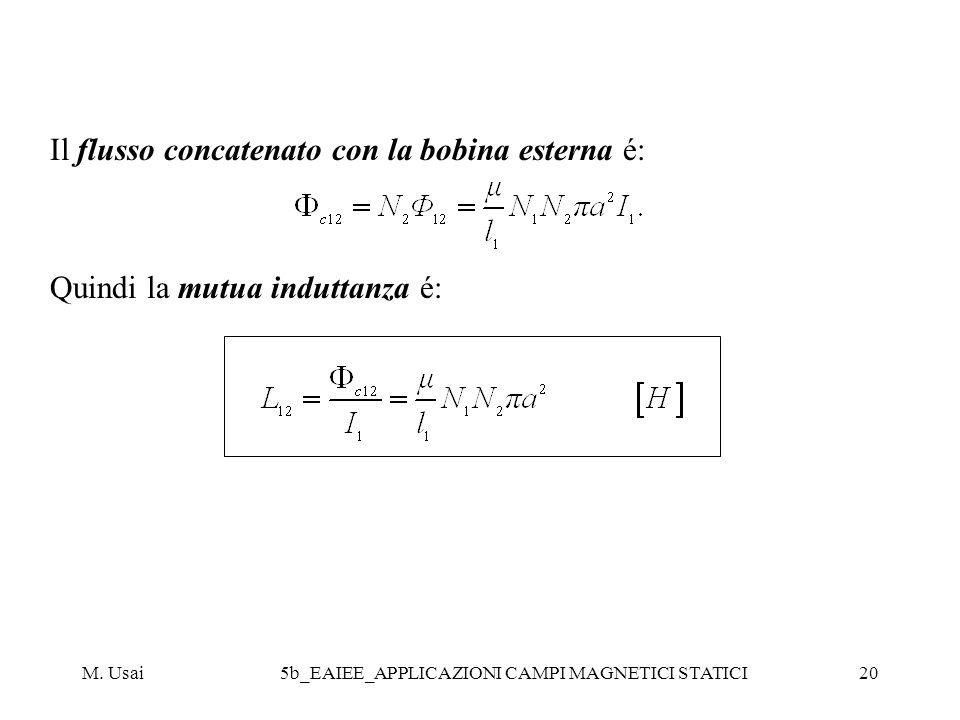 M. Usai5b_EAIEE_APPLICAZIONI CAMPI MAGNETICI STATICI20 Il flusso concatenato con la bobina esterna é: Quindi la mutua induttanza é: