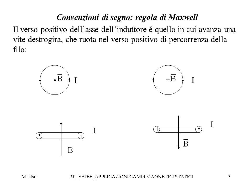 M. Usai5b_EAIEE_APPLICAZIONI CAMPI MAGNETICI STATICI3 Convenzioni di segno: regola di Maxwell Il verso positivo dellasse dellinduttore é quello in cui