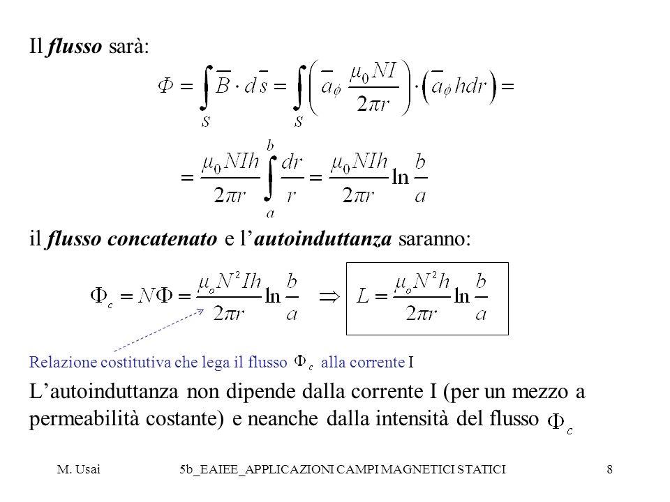 M. Usai5b_EAIEE_APPLICAZIONI CAMPI MAGNETICI STATICI8 Il flusso sarà: il flusso concatenato e lautoinduttanza saranno: Relazione costitutiva che lega
