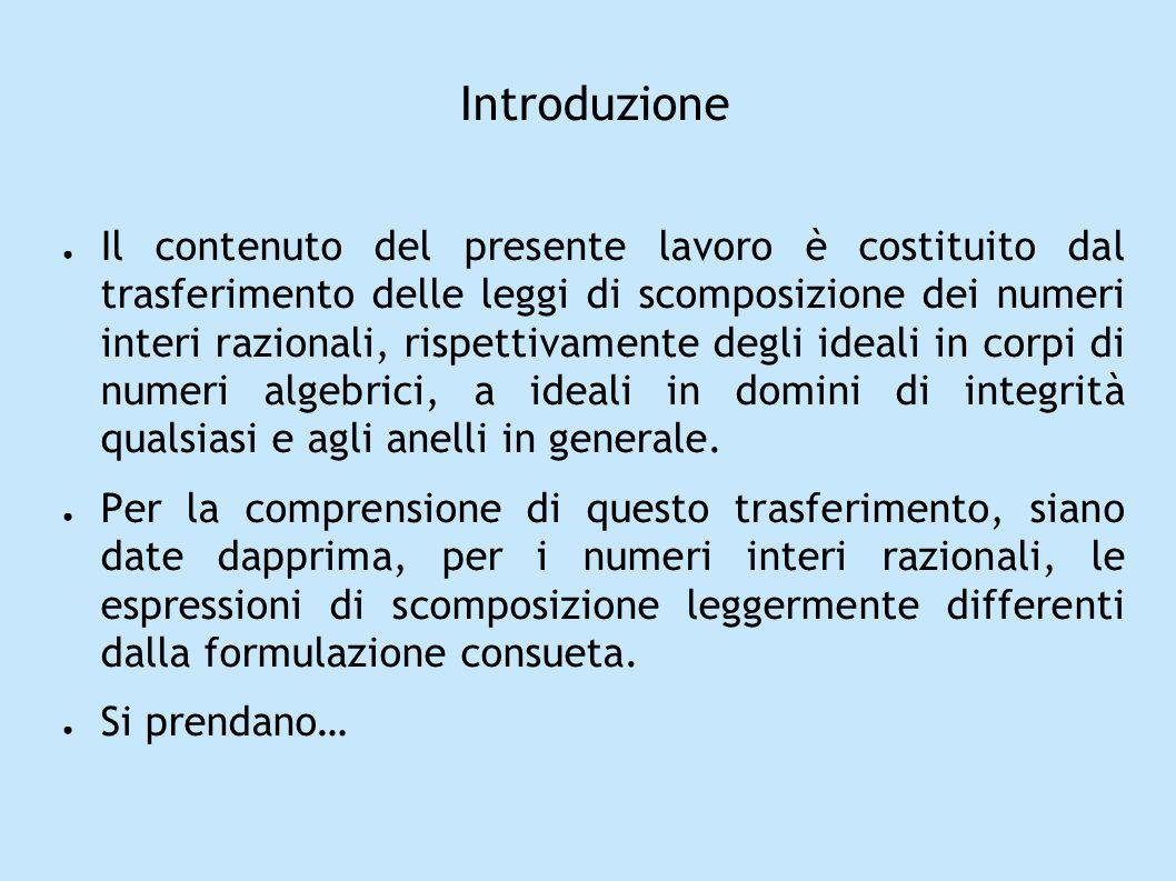 Introduzione Il contenuto del presente lavoro è costituito dal trasferimento delle leggi di scomposizione dei numeri interi razionali, rispettivamente