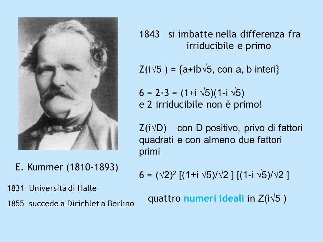 E. Kummer (1810-1893) 1831 Università di Halle 1855 succede a Dirichlet a Berlino 1843 si imbatte nella differenza fra irriducibile e primo Z(i 5 ) =