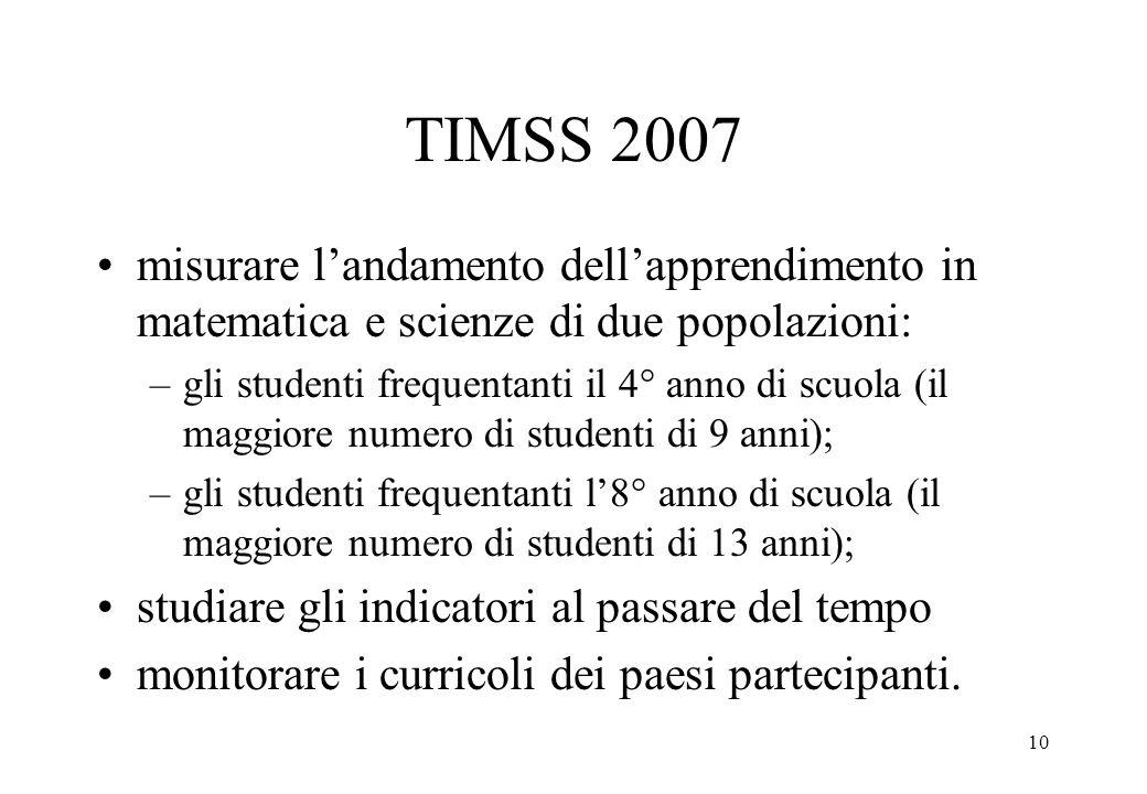 10 TIMSS 2007 misurare landamento dellapprendimento in matematica e scienze di due popolazioni: –gli studenti frequentanti il 4° anno di scuola (il ma