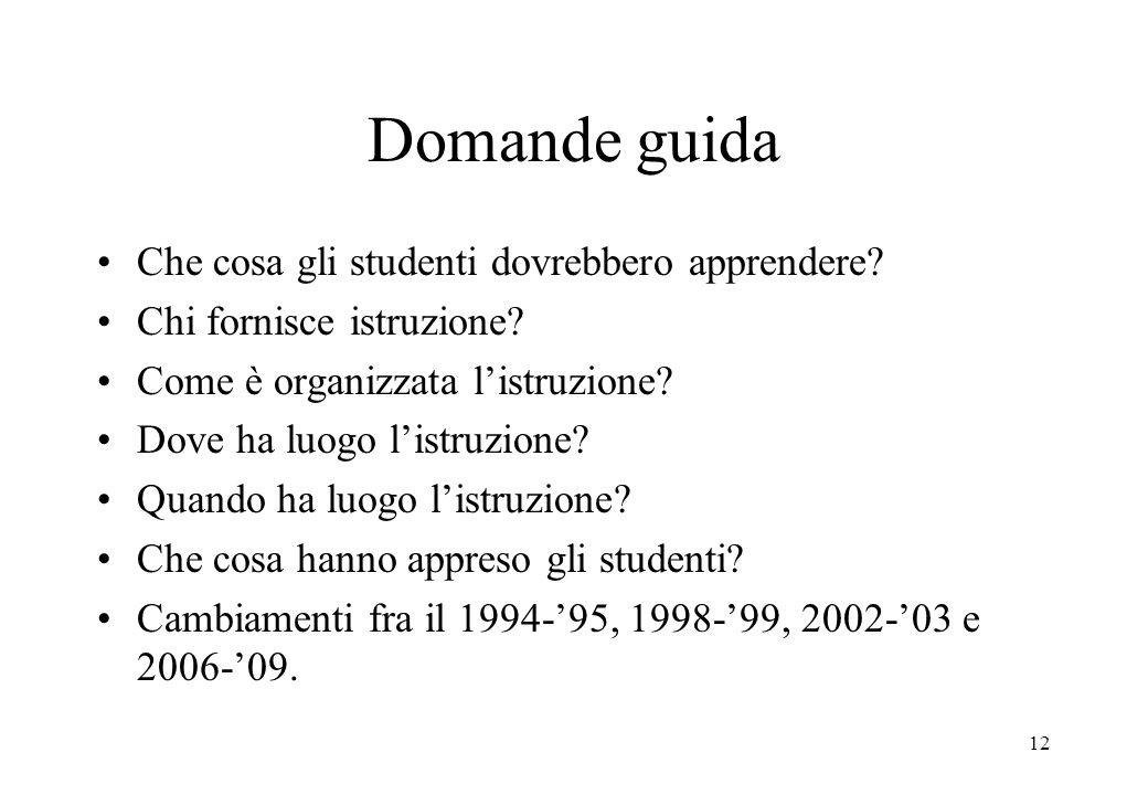 12 Domande guida Che cosa gli studenti dovrebbero apprendere? Chi fornisce istruzione? Come è organizzata listruzione? Dove ha luogo listruzione? Quan