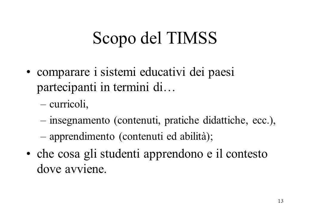 13 Scopo del TIMSS comparare i sistemi educativi dei paesi partecipanti in termini di… –curricoli, –insegnamento (contenuti, pratiche didattiche, ecc.