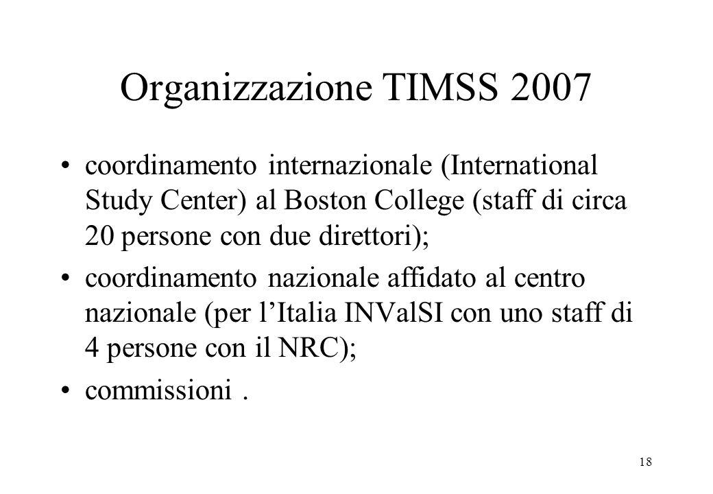 18 Organizzazione TIMSS 2007 coordinamento internazionale (International Study Center) al Boston College (staff di circa 20 persone con due direttori)