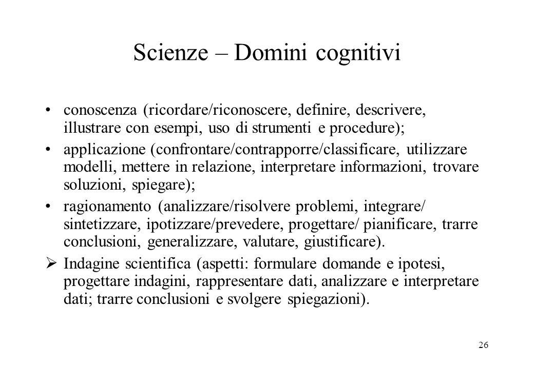 26 Scienze – Domini cognitivi conoscenza (ricordare/riconoscere, definire, descrivere, illustrare con esempi, uso di strumenti e procedure); applicazi