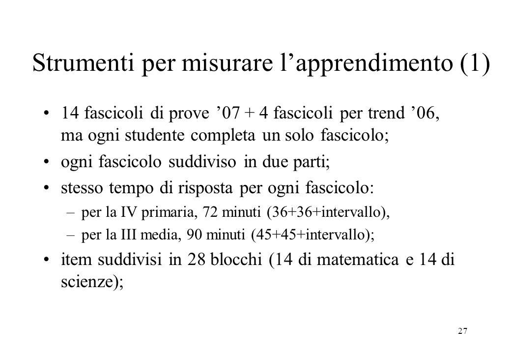 27 Strumenti per misurare lapprendimento (1) 14 fascicoli di prove 07 + 4 fascicoli per trend 06, ma ogni studente completa un solo fascicolo; ogni fa