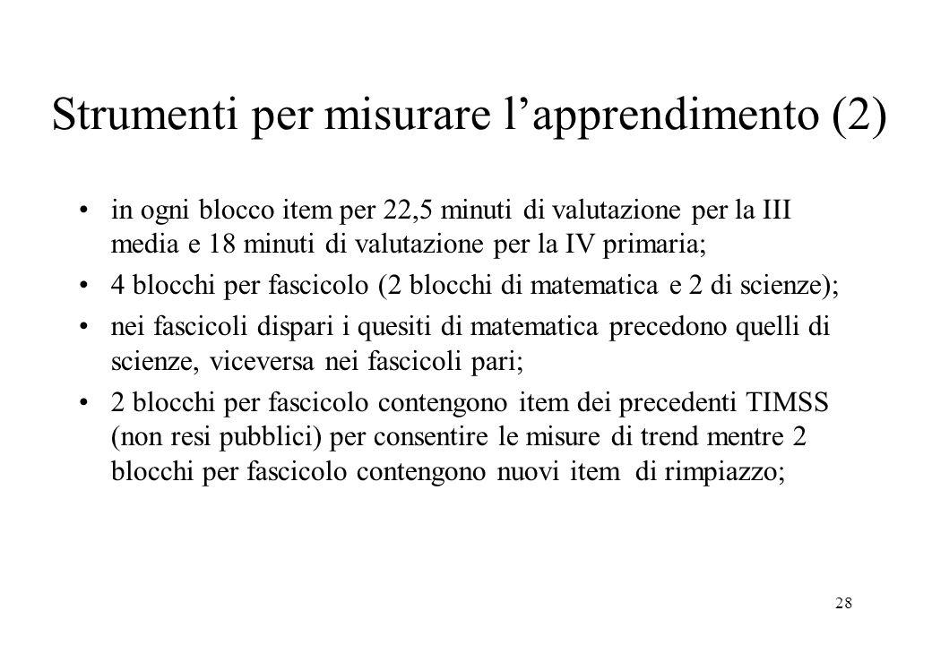 28 Strumenti per misurare lapprendimento (2) in ogni blocco item per 22,5 minuti di valutazione per la III media e 18 minuti di valutazione per la IV