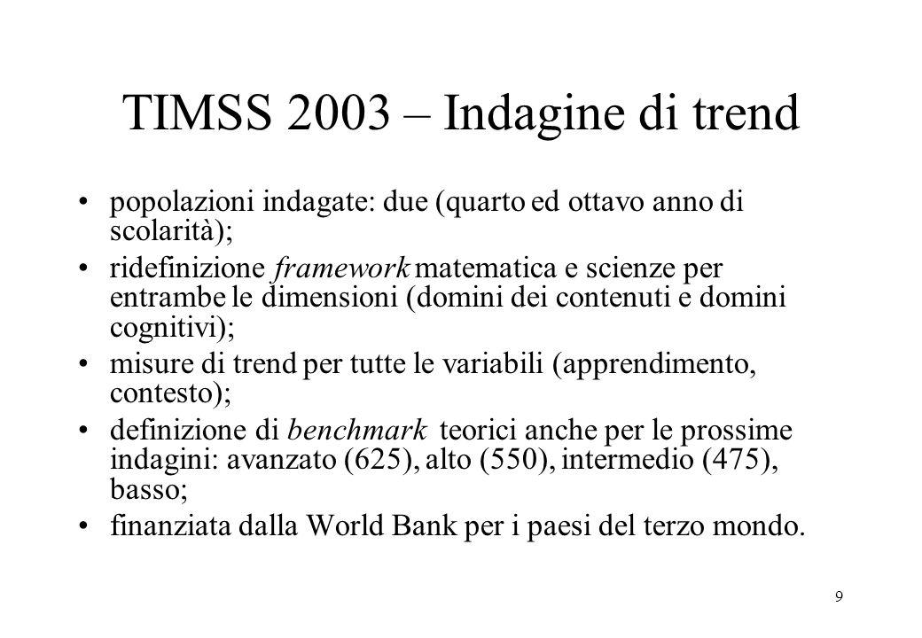9 TIMSS 2003 – Indagine di trend popolazioni indagate: due (quarto ed ottavo anno di scolarità); ridefinizione framework matematica e scienze per entr