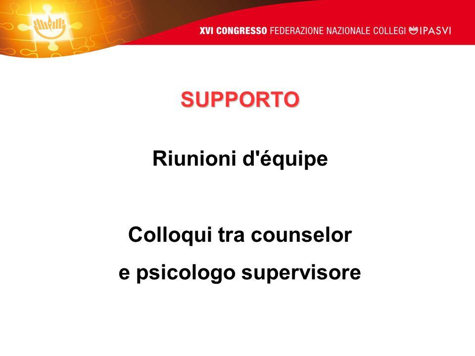 SUPPORTO Riunioni d'équipe Colloqui tra counselor e psicologo supervisore
